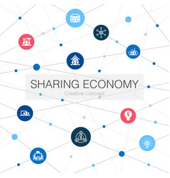 Sharing economy trendy web template with simple vector