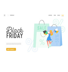 shopping theme black friday online sale vector image