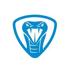 Snake head shield logo template isolated vector