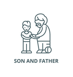 son and father line icon linear concept vector image