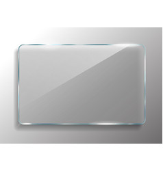 square glass frame realistic glass banner vector image