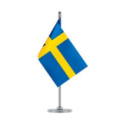 Swedish flag hanging on the metallic pole vector