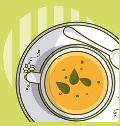 Tea cup and spoon topview vector