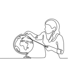 Teacher with pointer and globe vector