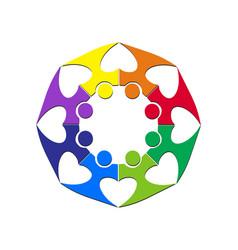 teamwork with heart logo vector image