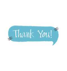 thank you - blue speech bubble in doodle style vector image