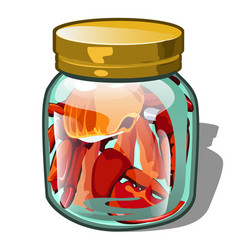 the crab is placed in a glass jar isolated on vector image