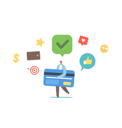 Tiny man carry huge card got good credit score vector