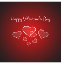 Valentines card with glowing hearts on brigth red vector image