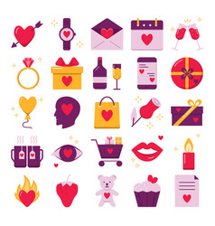 valentines day icon set in flat style vector image