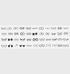 Various stylish sunglasses doodle set vector