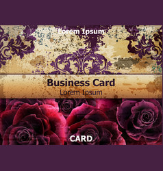 Vintage business card with rose flowers vector