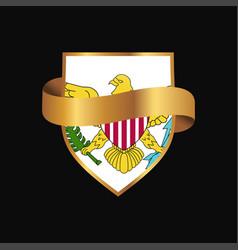 Virgin islands us flag golden badge design vector