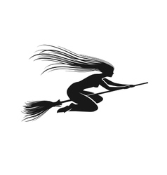Witch on broomstick Black silhouette vector image