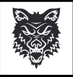 Wolf head silhouette label tattoo vector