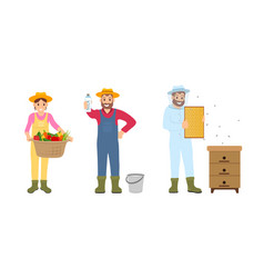 woman and beekeeper in uniform vector image