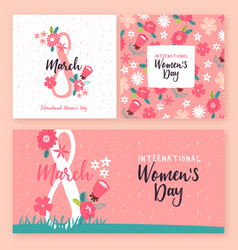 womens day 8 march pink flower greeting card set vector image
