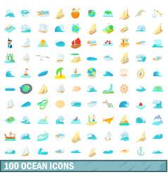 100 ocean icons set cartoon style vector image