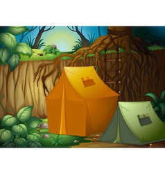 A tent camp in the woods vector image vector image