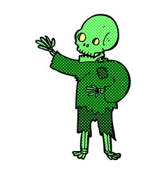 comic cartoon skeleton waving vector image