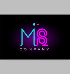 neon lights alphabet ms m s letter logo icon vector image