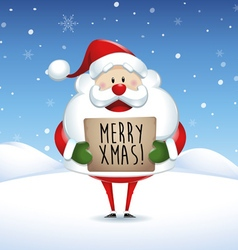 Santa claus holding banner in christmas vector