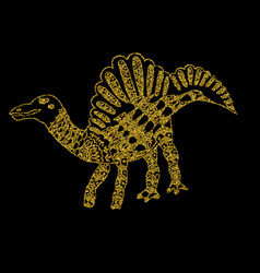 silhouettes of a golden dinosaur on a black vector image