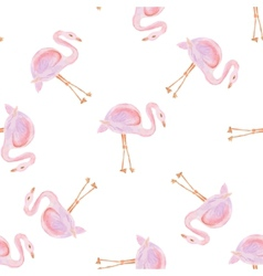 Watercolor seamless pattern with flamingo bird vector image