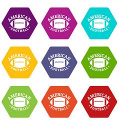 american football icons set 9 vector image