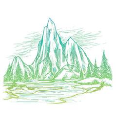 colorful nature landscape sketch vector image vector image