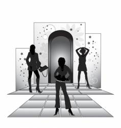 girls on podium vector image vector image