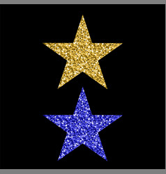 Gold blue glitter star vector