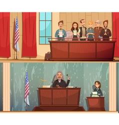 Law Courtroom 2 Vintage Banners Set vector image
