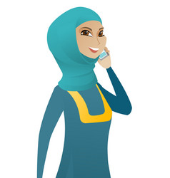 muslim business woman talking on a mobile phone vector image vector image