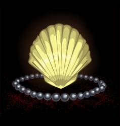 precious seashell with black pearl vector image vector image