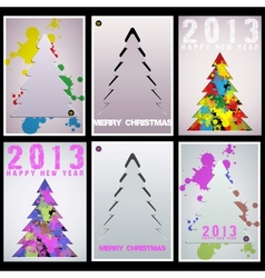 Set Christmas tree applique background vector image