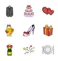 wedding holiday icons set cartoon style vector image vector image