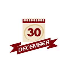 30 december calendar with ribbon vector