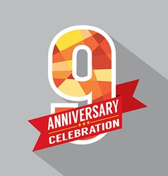 9th Years Anniversary Celebration Design vector image
