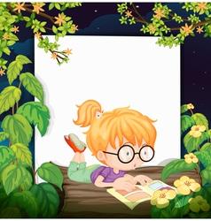 A reading girl vector image vector image