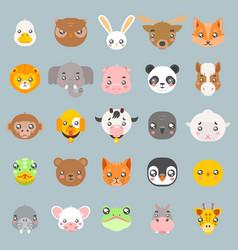 animals cute baby cartoon cubs flat design head vector image