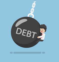 Businessman is hit by debt wrecking ball vector
