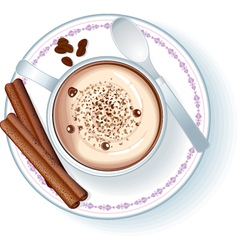 coffee cup with cappuccino vector image