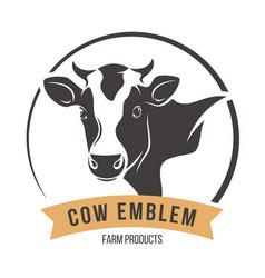 cow head silhouette emblem label vector image vector image