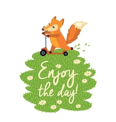 Funny card with cute fox in cartoon style vector image
