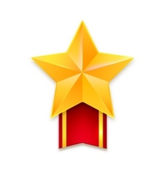 Golden star with ribbon vector image vector image