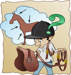 Inexperienced horse rider vector