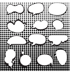 comic speech bubbles set with halftone background vector image vector image