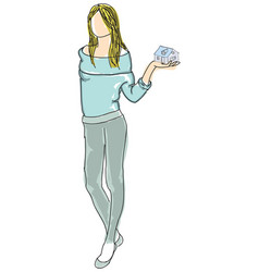 drawn girl in sweater holding house vector image vector image
