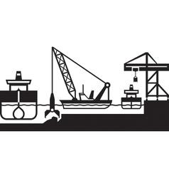 Dredger ship deepens port vector image